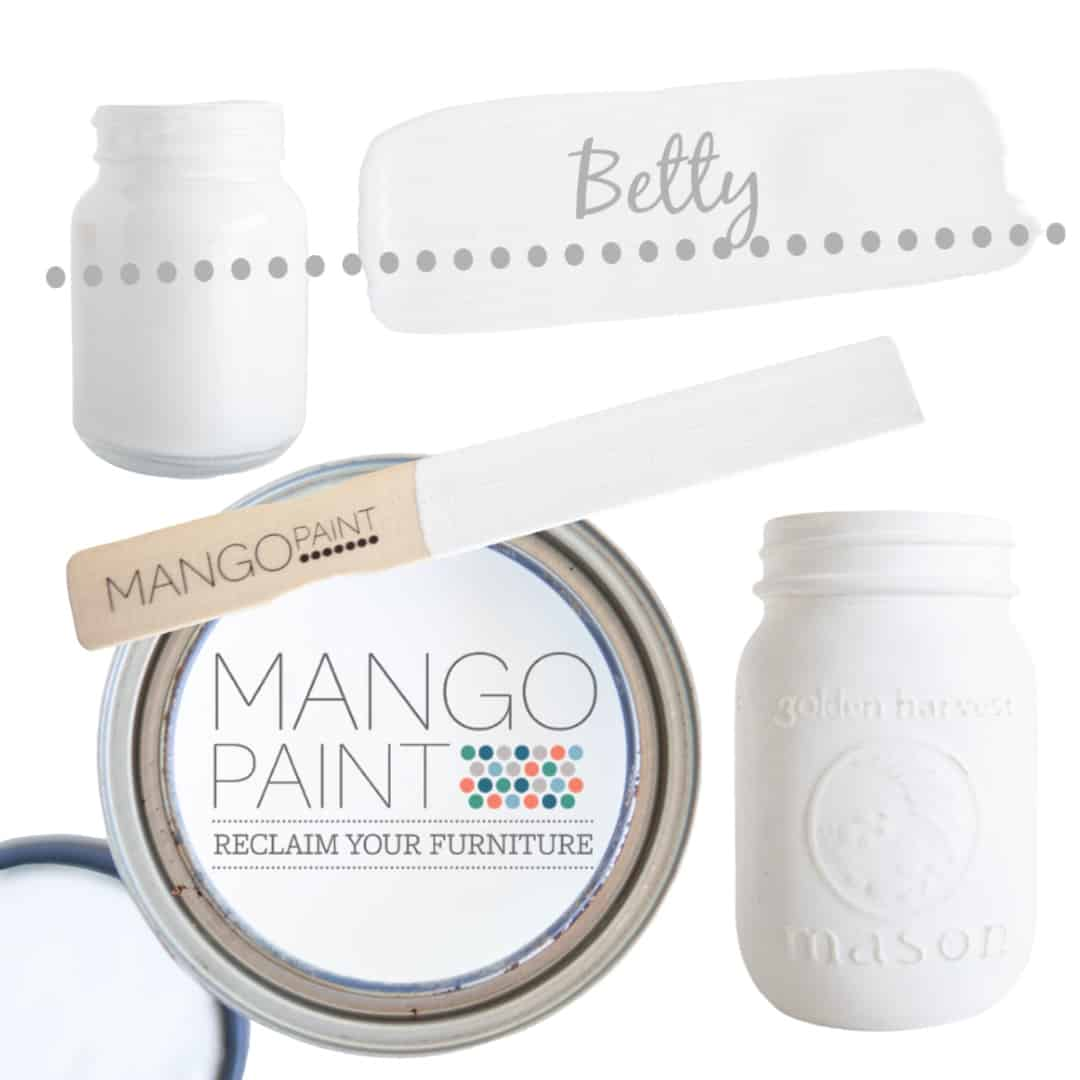 Collage of items painted in Mango Paint colour Betty