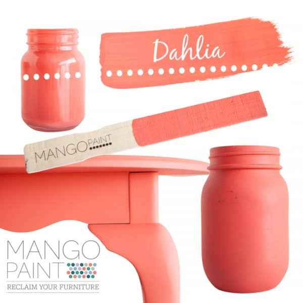 Collage of items painted in Mango Paint colour Dahlia