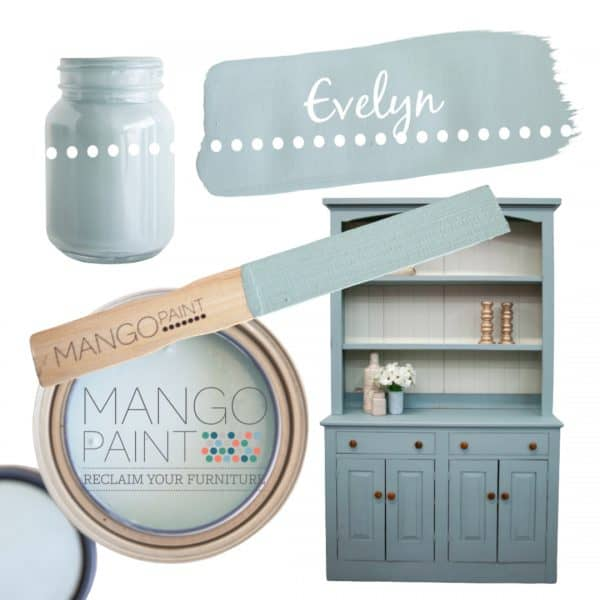 Collage of items painted in Mango Paint colour Evelyn