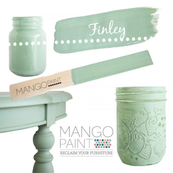 Collage of items painted in Mango Paint colour Finley