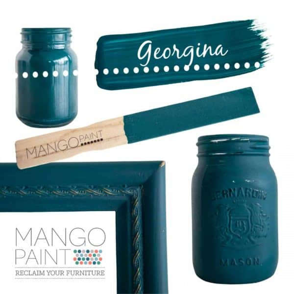 Collage of items painted in Mango Paint colour Georgina
