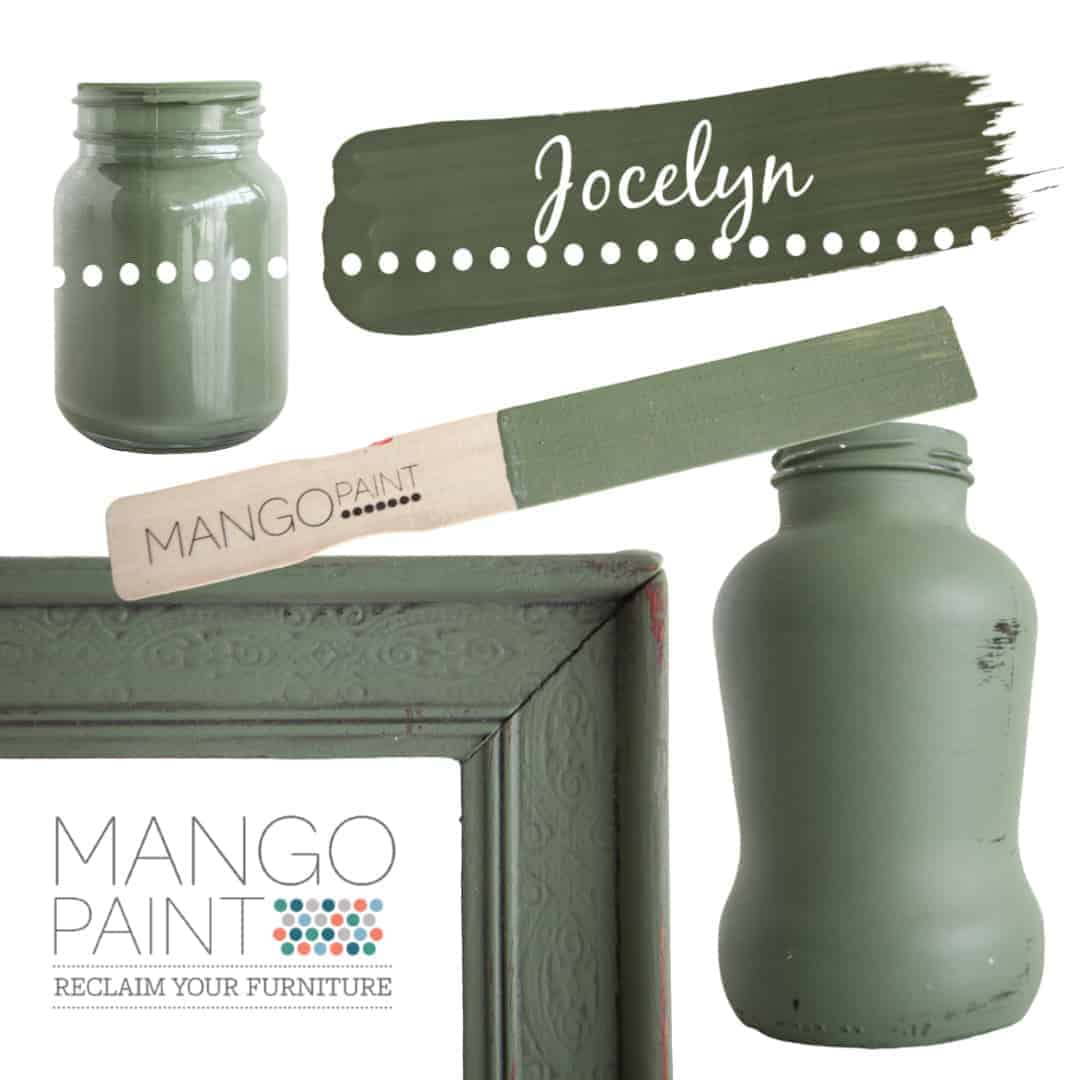 Collage of items painted in Mango Paint colour Jocelyn