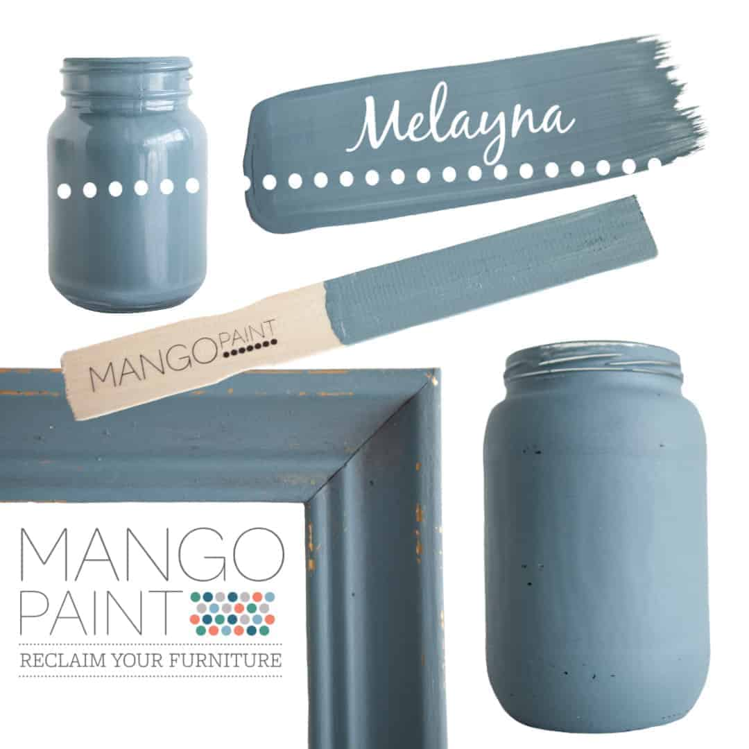Collage of items painted in Mango Paint colour Melayna