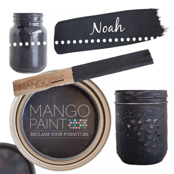 Collage of items painted in Mango Paint colour Noah