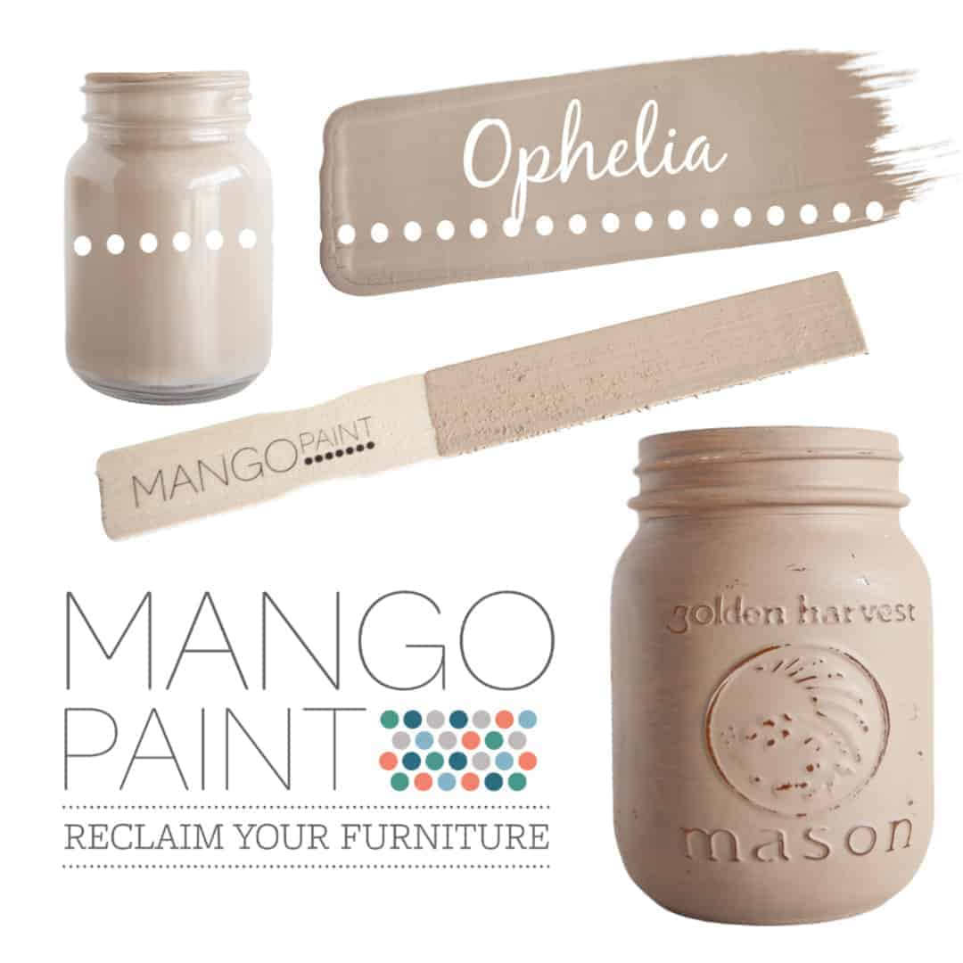 Collage of items painted in Mango Paint colour Ophelia
