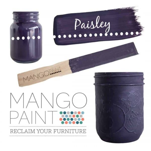 Collage of items painted in Mango Paint colour Paisley