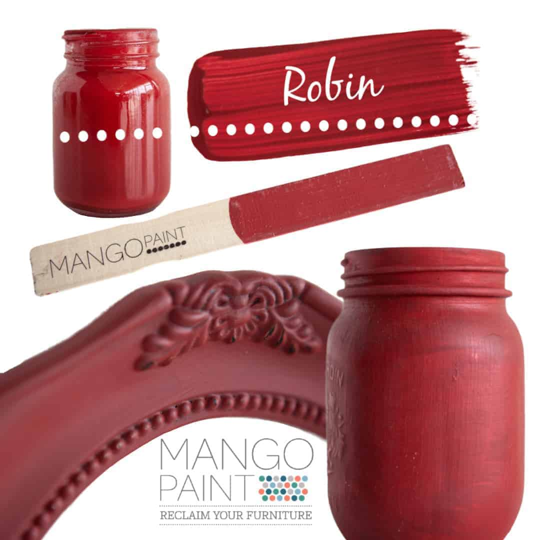 Collage of items painted in Mango Paint colour Robin