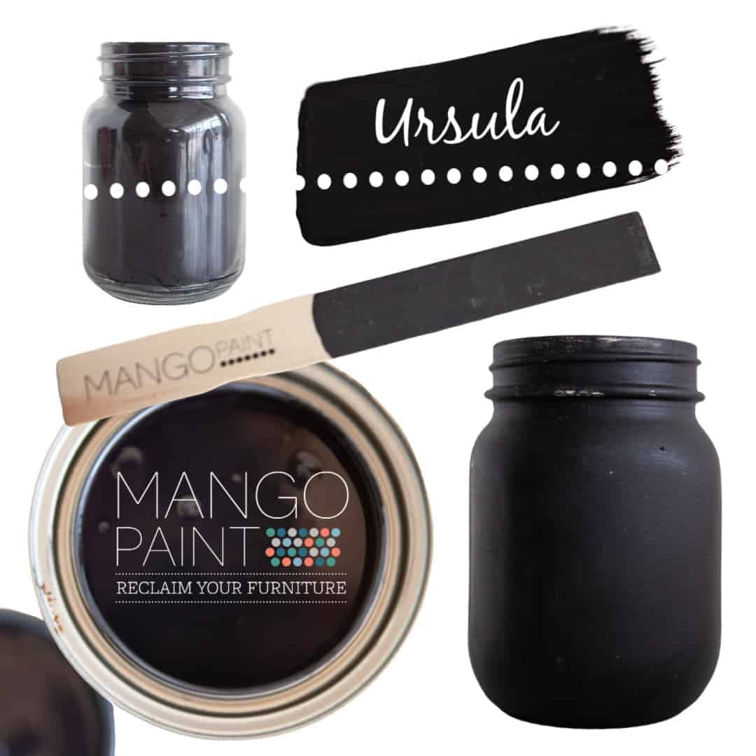 Collage of items painted in Mango Paint colour Ursula