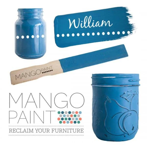 Collage of items painted in Mango Paint colour William