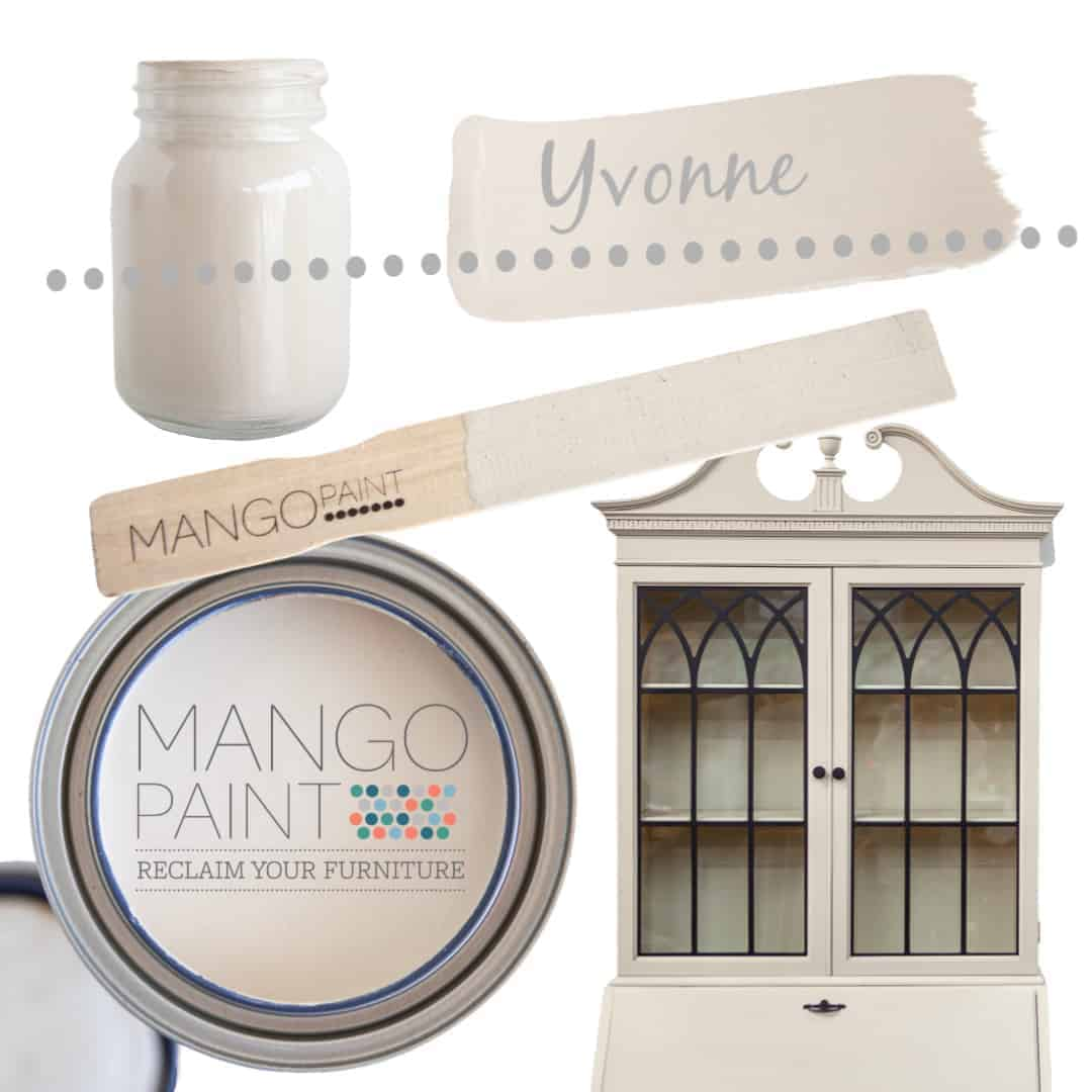 Collage of items painted in Mango Paint colour Yvonne