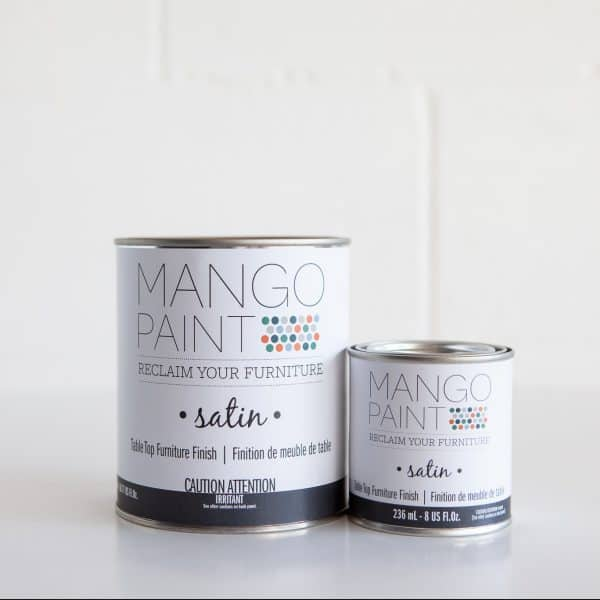 Quart and 1/2 pint sizes of Mango Paint Table Top Finish products in satin