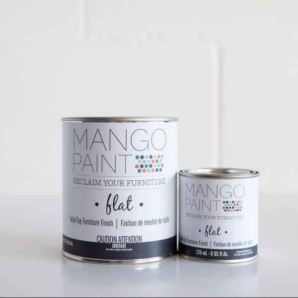 Quart and 1/2 pint sizes of Mango Paint Table Top Finish products in flat