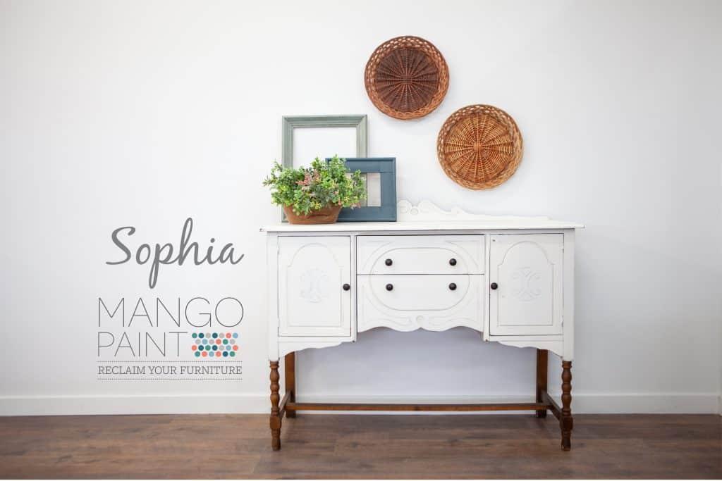 vintage buffet on legs painted in soft white Sophia from Mango Paint, unpainted wooden twist legs