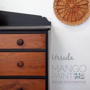 dresser painted in Ursula black Mango Paint with hemp oil on natural wood drawers, detail corner view